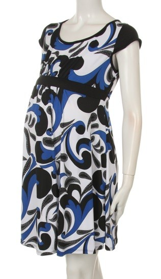 SHORT SLEEVE BLUE BLACK WHITE MATERNITY DRESS