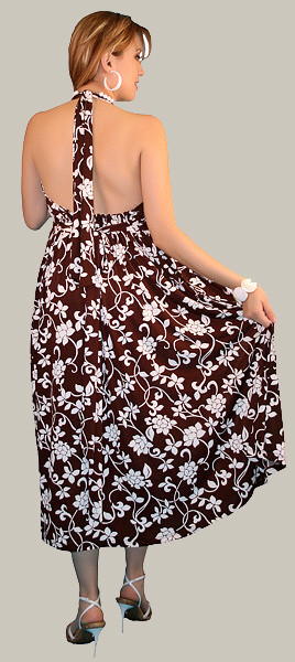 sleeveless maternity dress brown and white