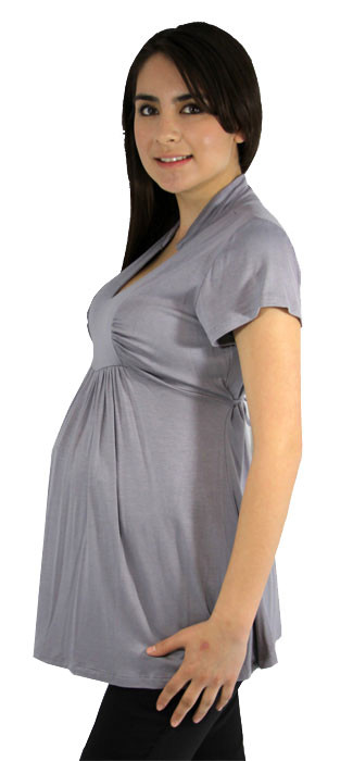 grey short sleeve maternity top
