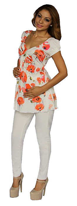 MATERNITY TOP WHITE AND CORAL FLOWERS