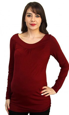 long sleeve maternity top gray
