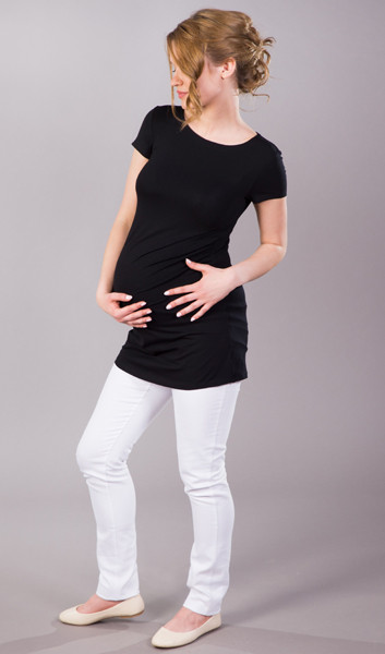 short sleeve black maternity top