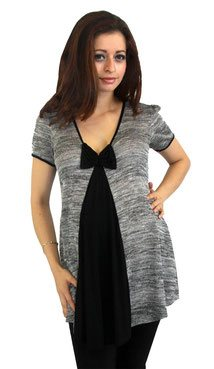elegant grey and black maternity top