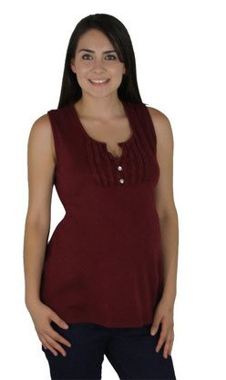 burgundy sleeveless maternity top
