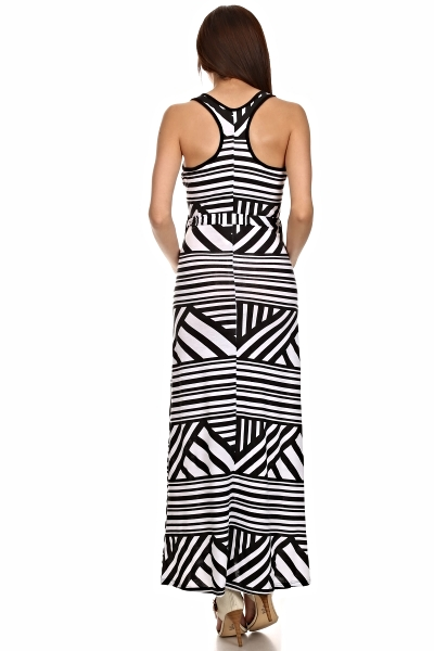 BLACK WHITE SLEEVELESS MATERNITY DRESS