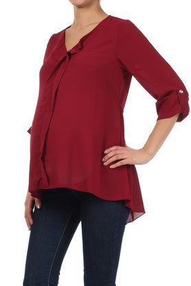 burgundy long sleeve maternity top