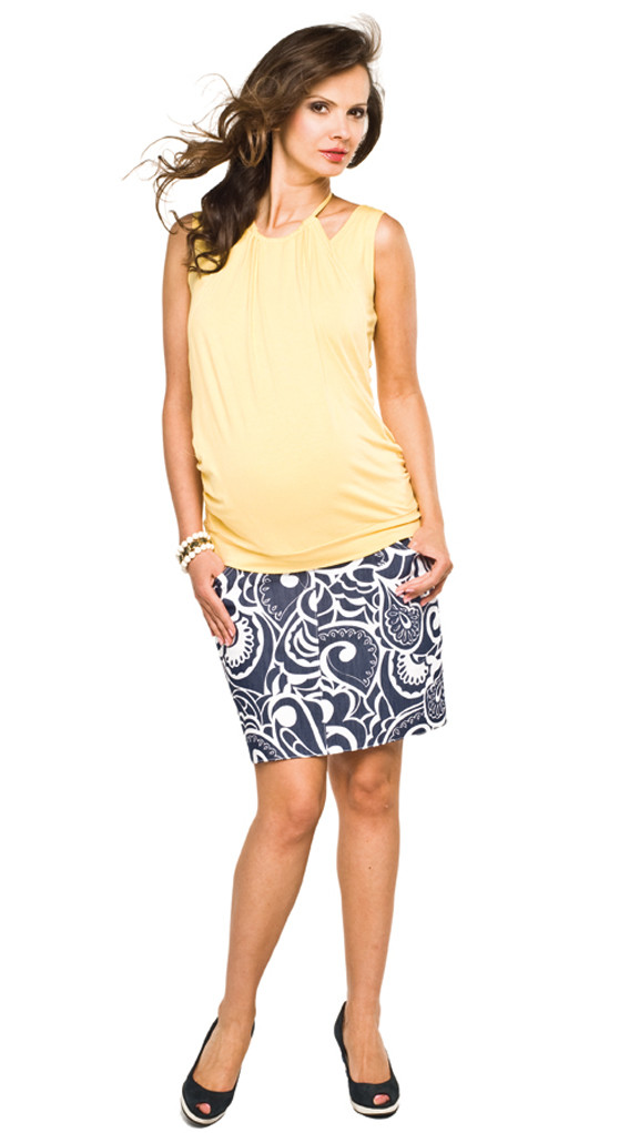 yellow sleeveless maternity top