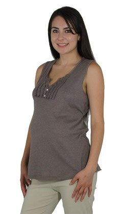 brown sleeveless maternity top