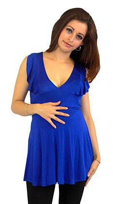 blue sleeveless maternity top