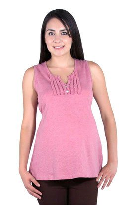 light pink sleeveless maternity top