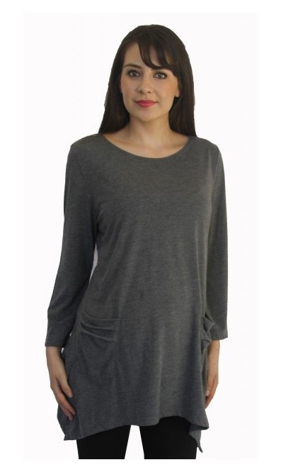 long sleeve maternity top charcoal gray