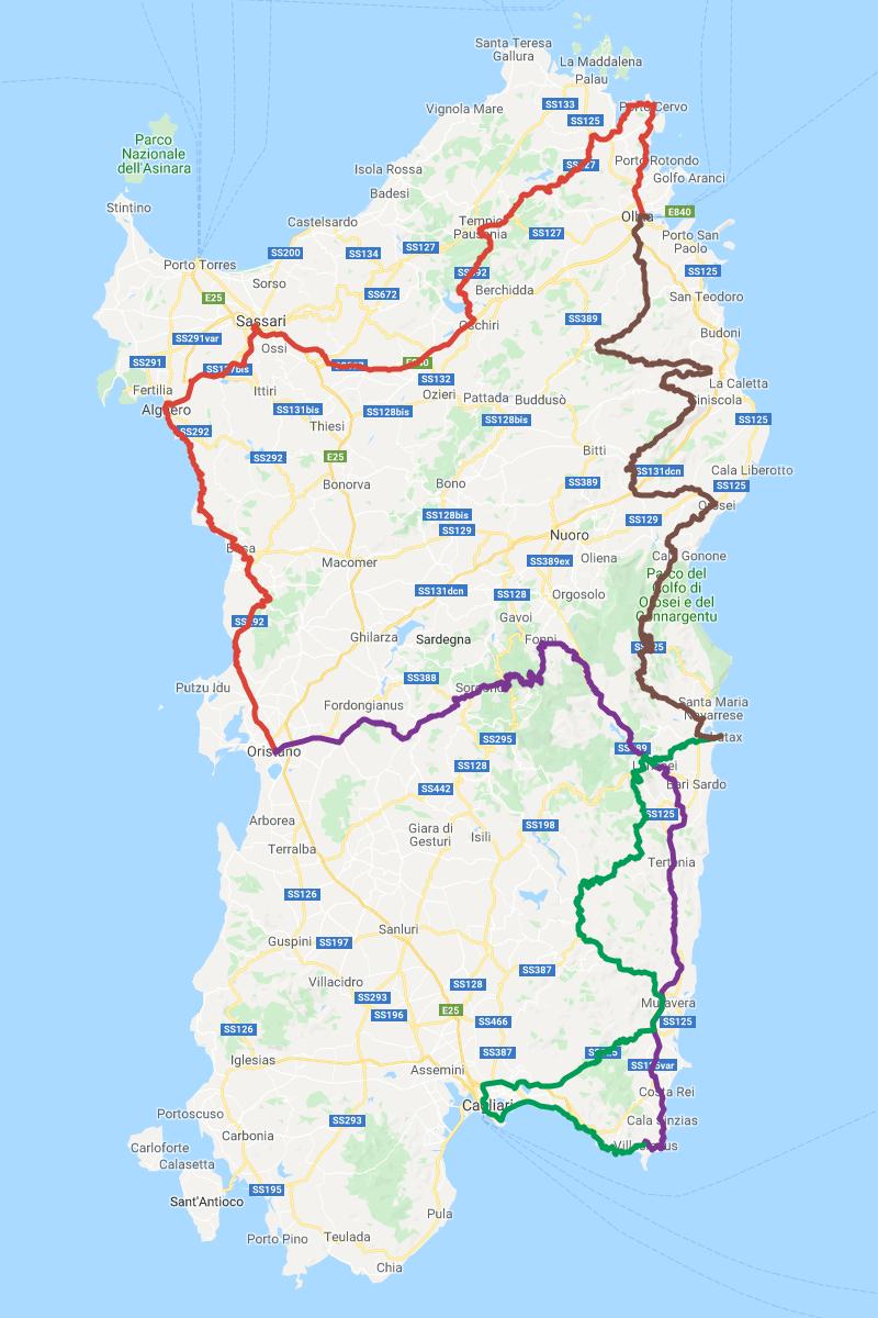 Karte Motorradtour Sardegna quattro giorni, 4 Tage, ca. 1074km © Pässe.Info, Karte Google Maps