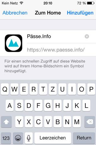 Screenshot 5 Pässe.Info-Web-App für iPhone