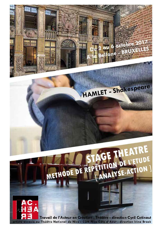 Stage - Laboratoire autour d'HAMLET à la Bellone - Bruxelles - 2 au 6 Octobre 2017