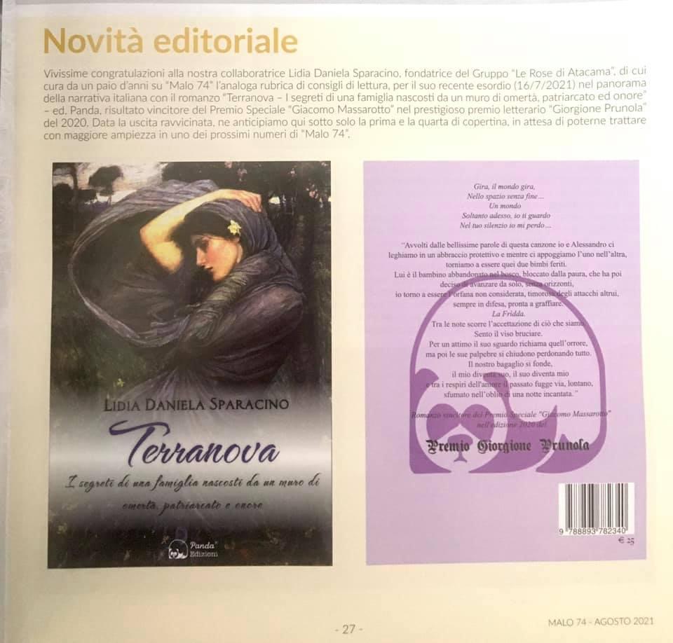 Articolo Malo 74 - Agosto 2021 - Terranova - Lidia Daniela Sparacino