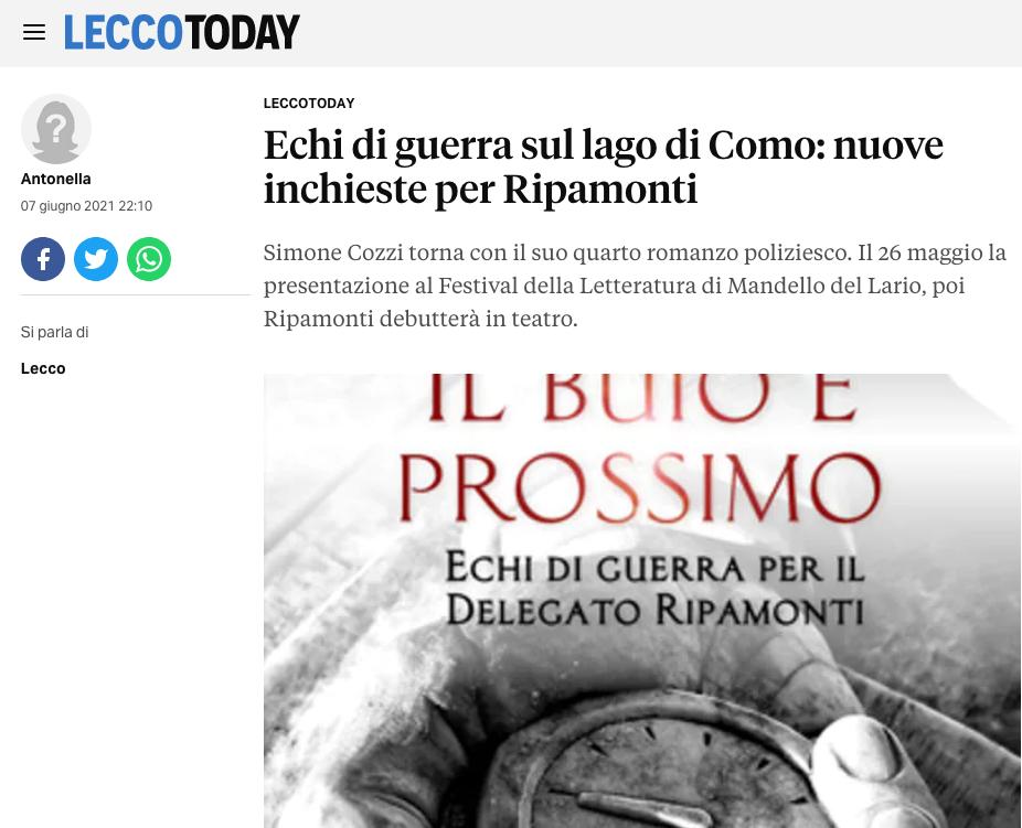"""""""Il buio è prossimo"""" su Lecco Today"""