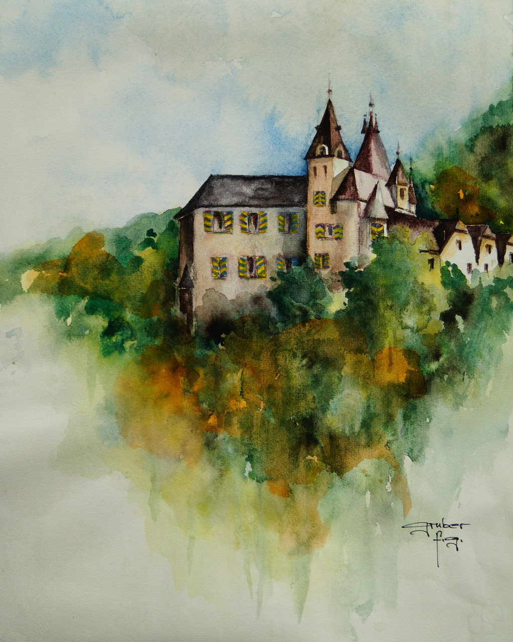 aquarell - schloss enn in montan-südtirol (plein air)