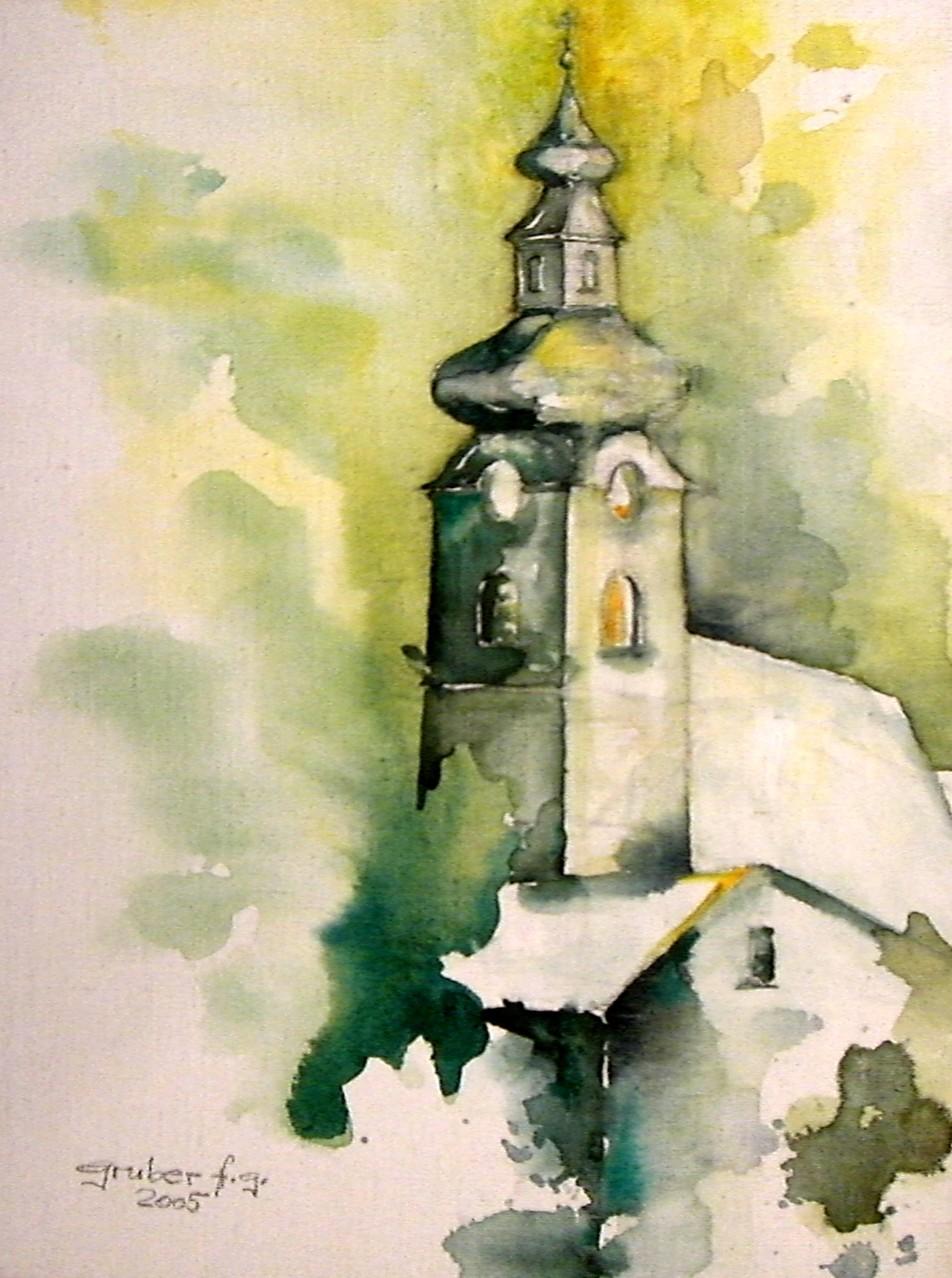 aquarell - kirche im waldviertel