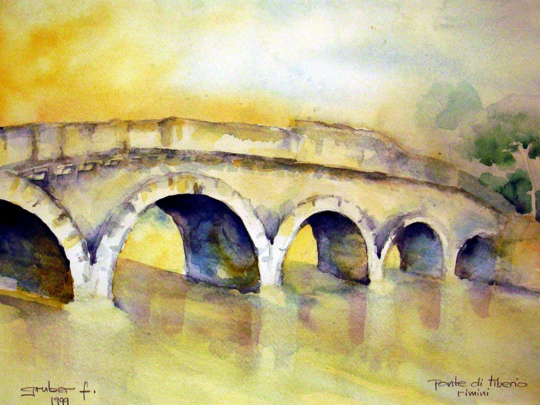 aquarell - ponte tiberio in rimmini - italien