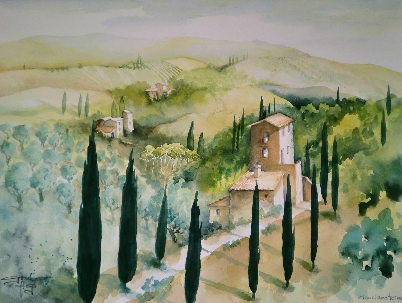aquarell - villa bei montepulciano - toskana