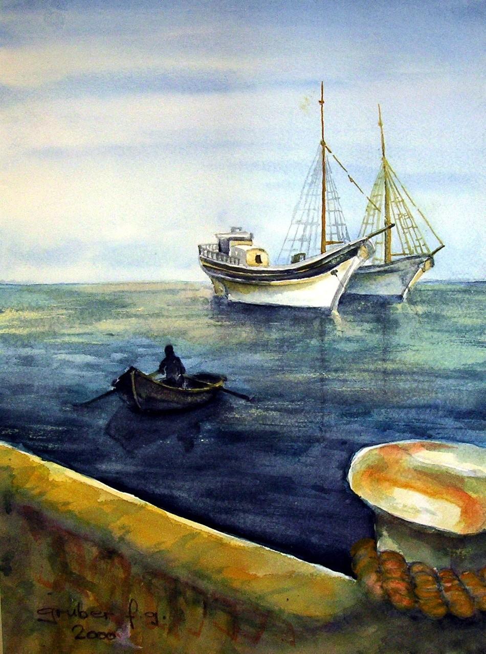 aquarell - alte segelschiffe vor anker