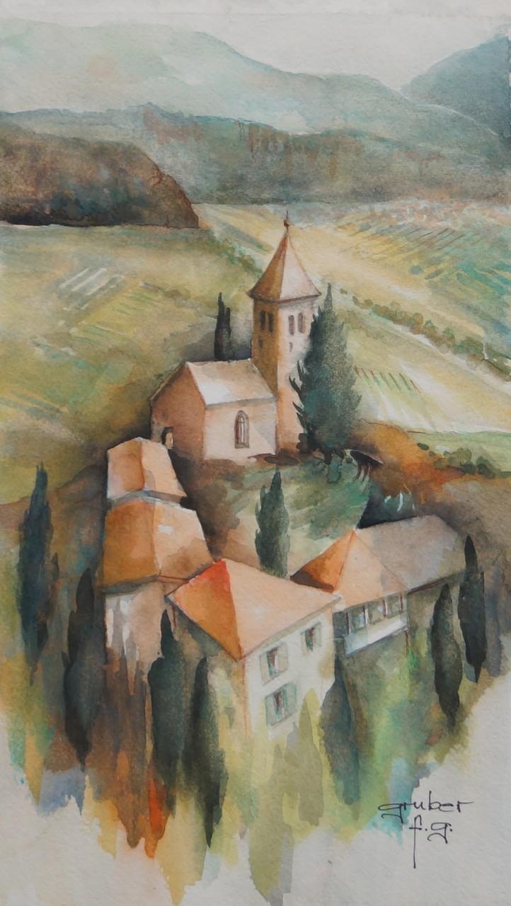 aquarell - st. jakob in kastelaz - tramin-südtirol (plein air)