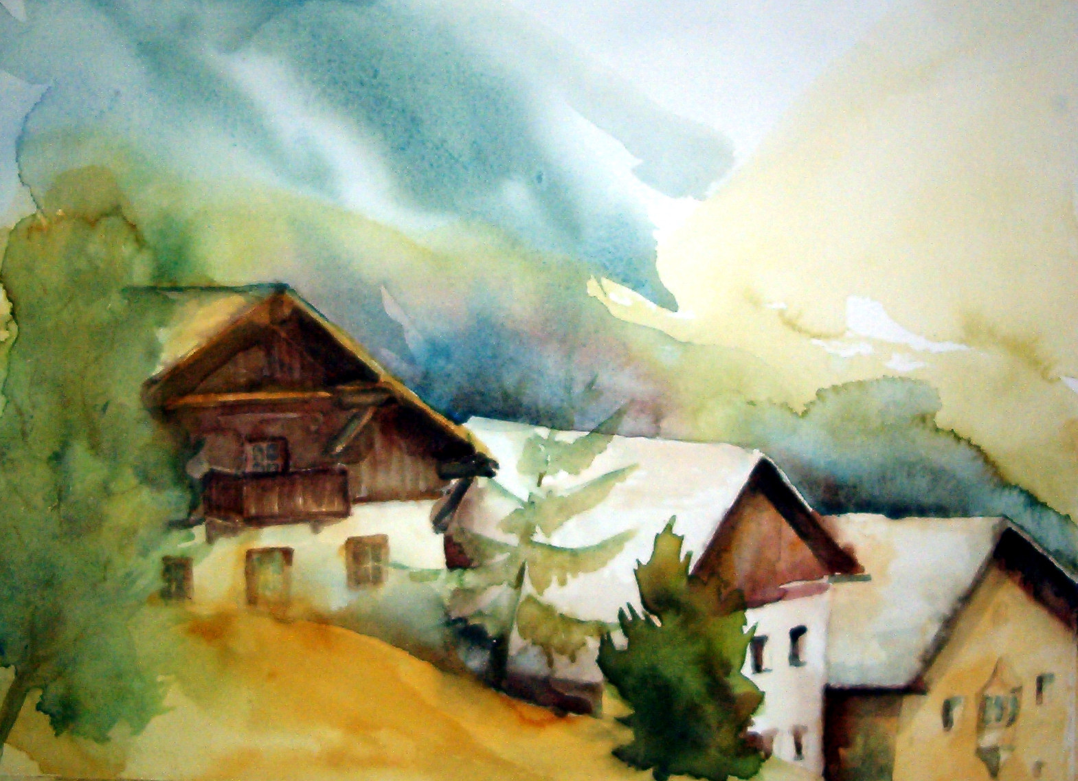 aquarell - höfe in patsch bei innsbruck