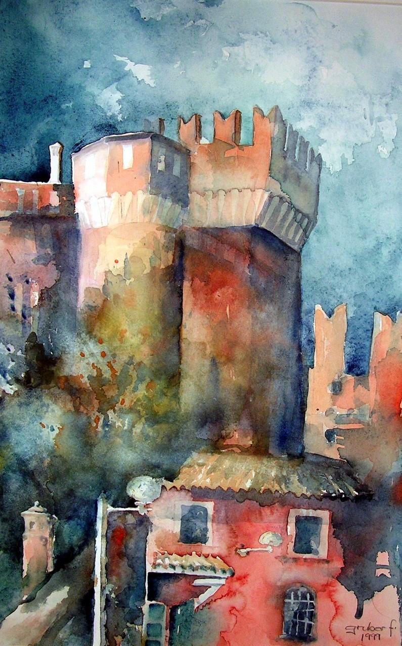 aquarell - stadtturm in der emilia romagna - italien