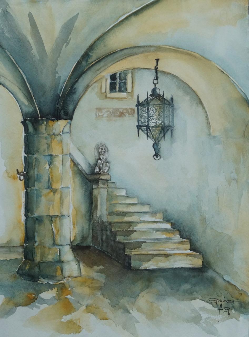 aquarell - gewölbeaufgang im schloss enn - montan - südtirol