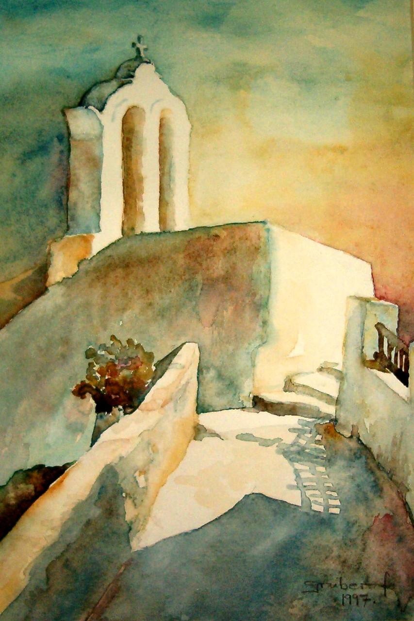aquarell - griechische impressionen santorin