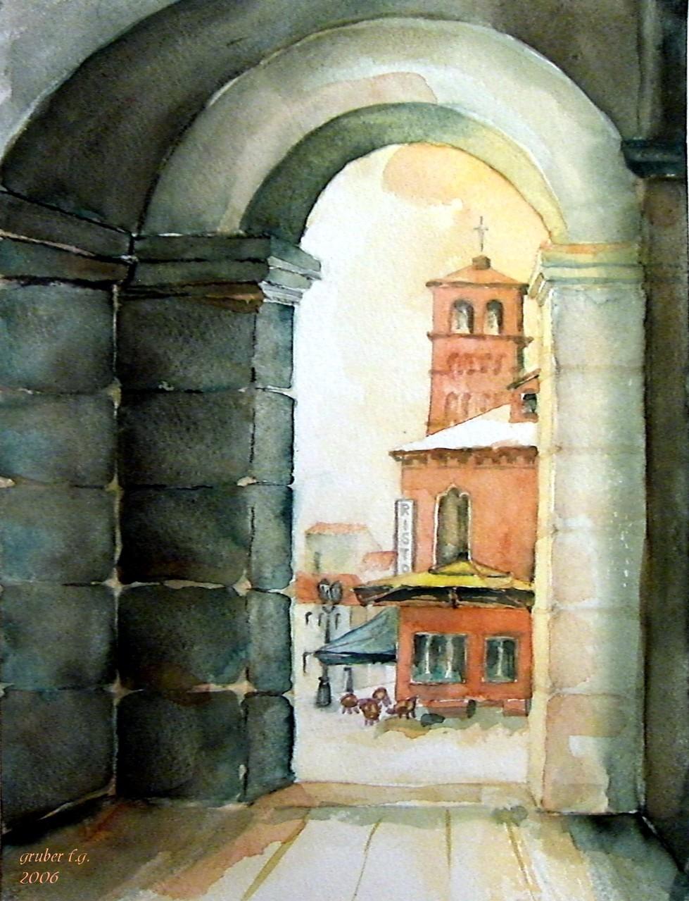 aquarell - durchblick in chioggia - italien