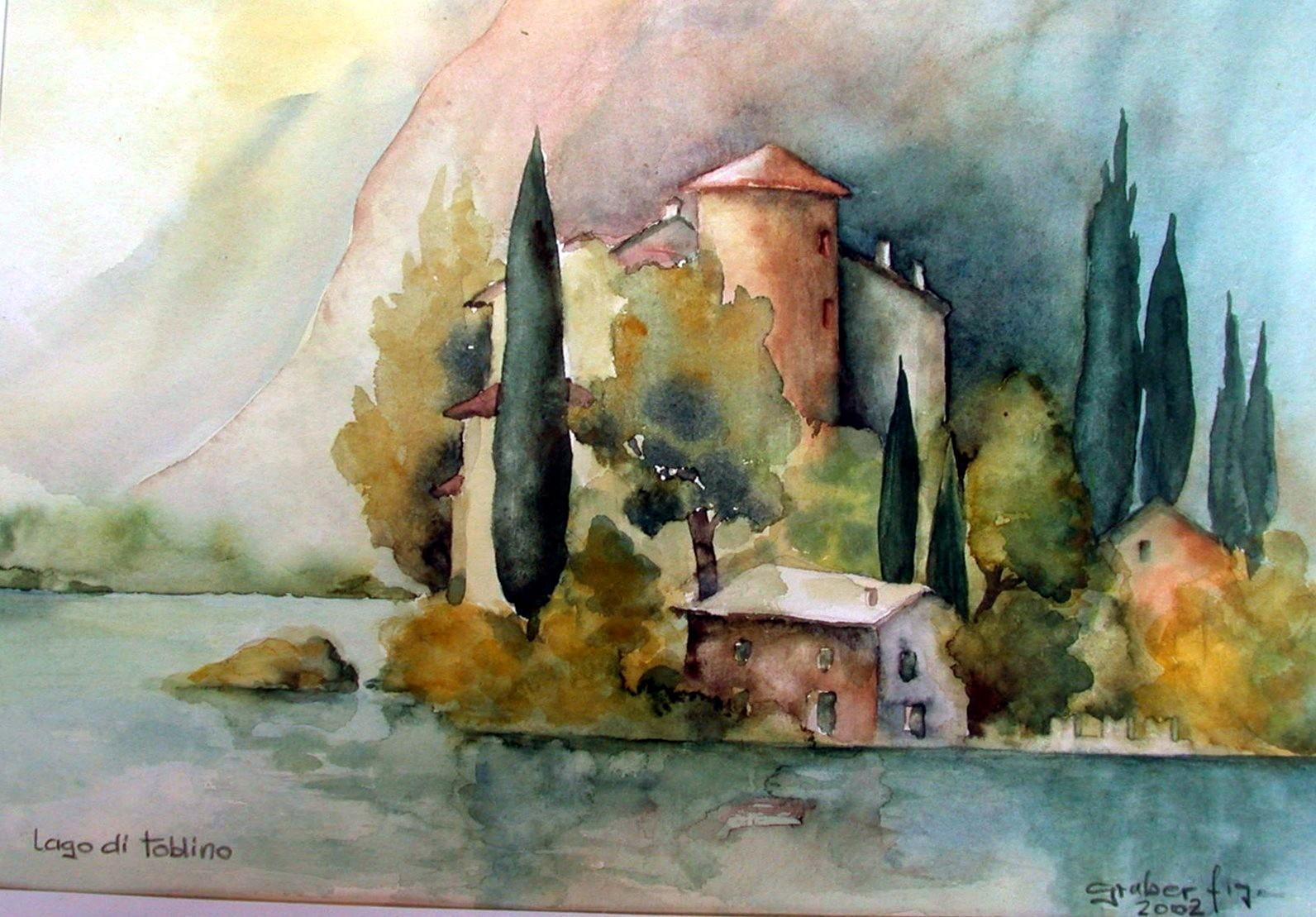 aquarell - castell toblino - lago di toblino - trentino