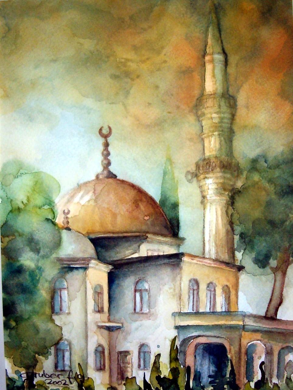 aquarell - moschee in belek türkei