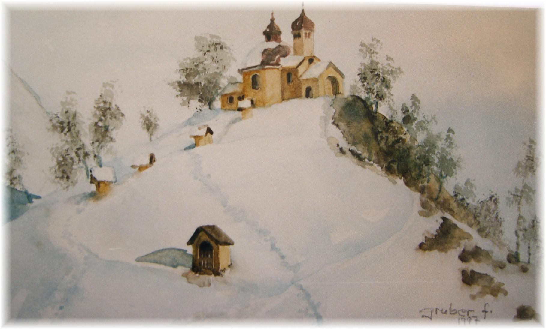 aquarell - kalvarienberg arzl bei innsbruck