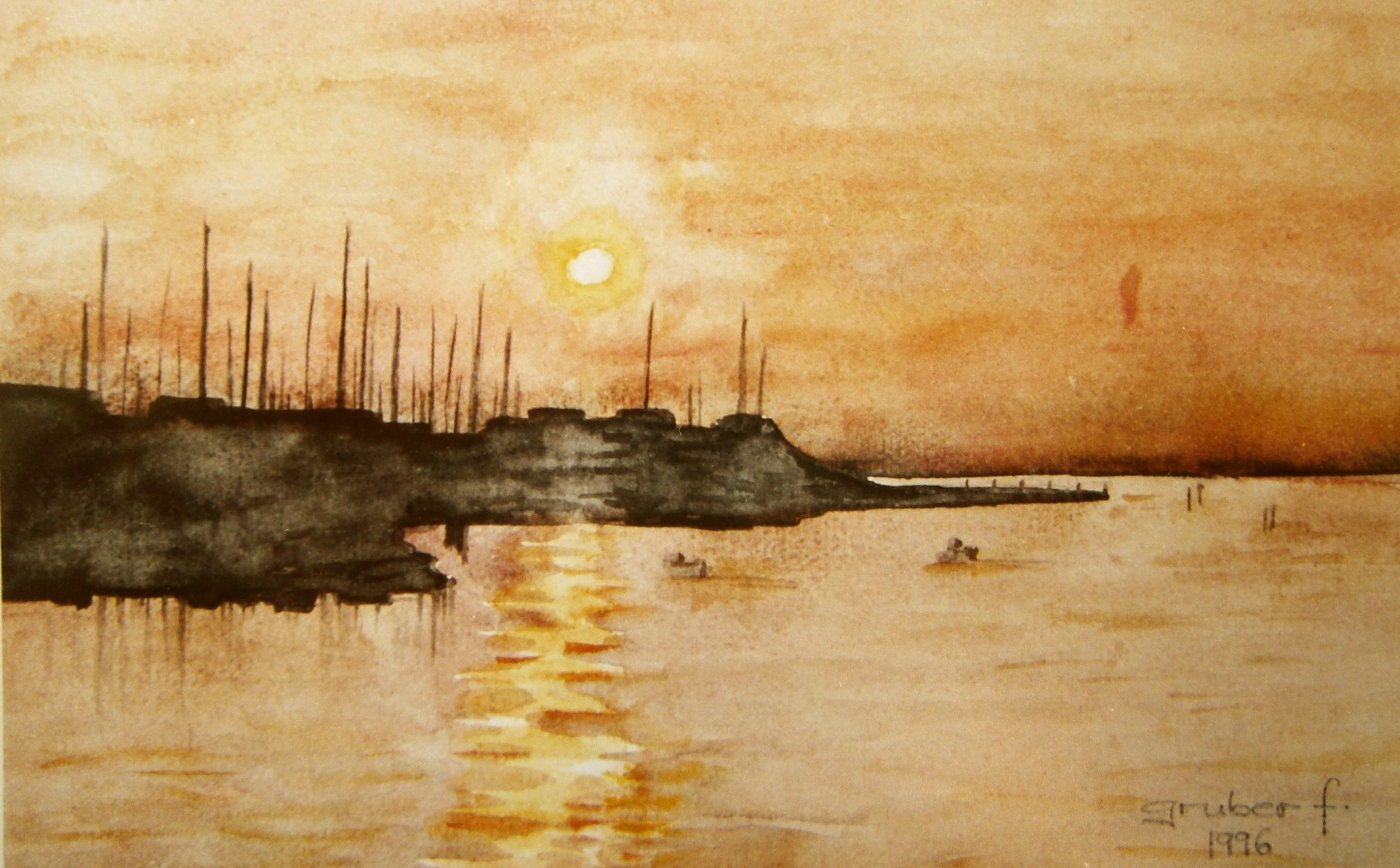 aquarell - abendstimmung am segelschiffhafen