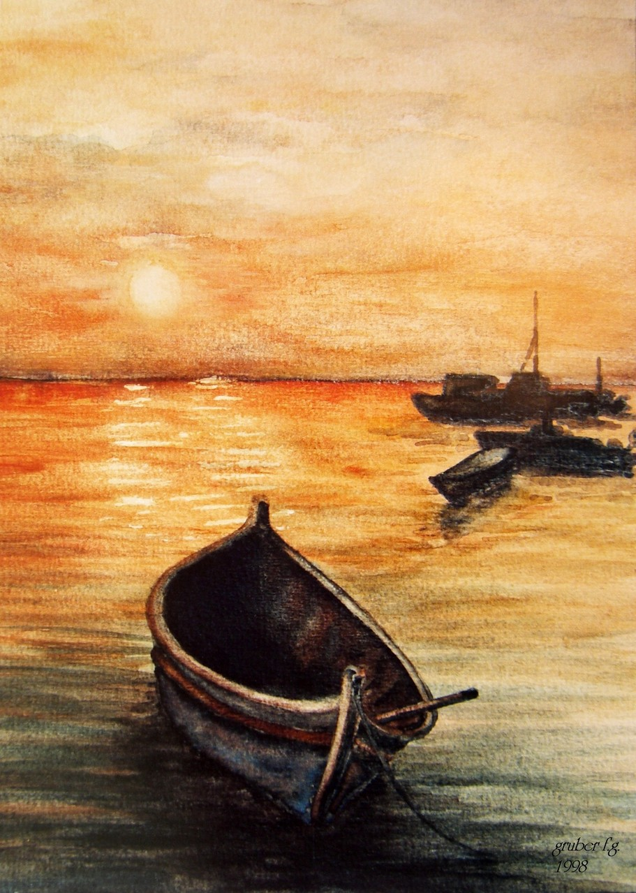 aquarell - abendstimmung sonnenuntergang