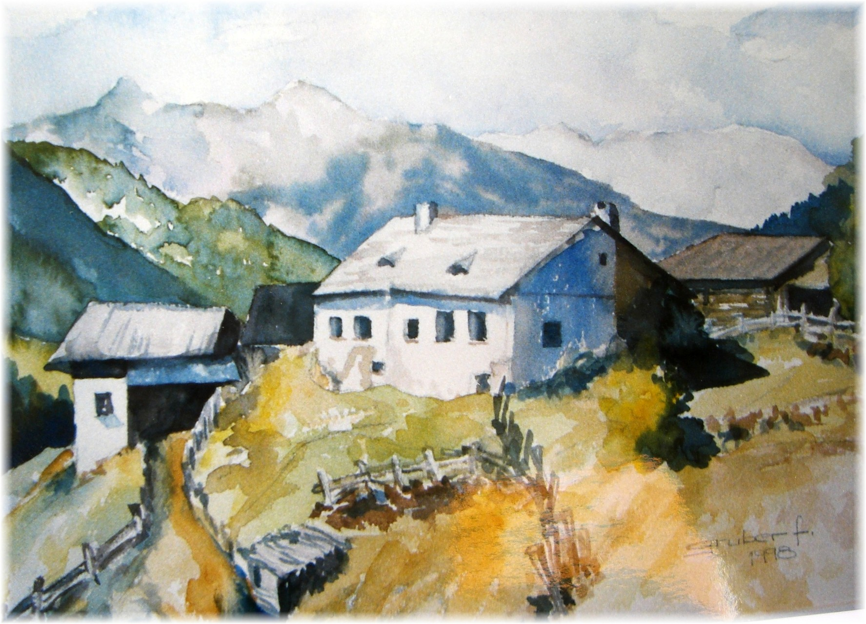 aquarell - hof in südtirol