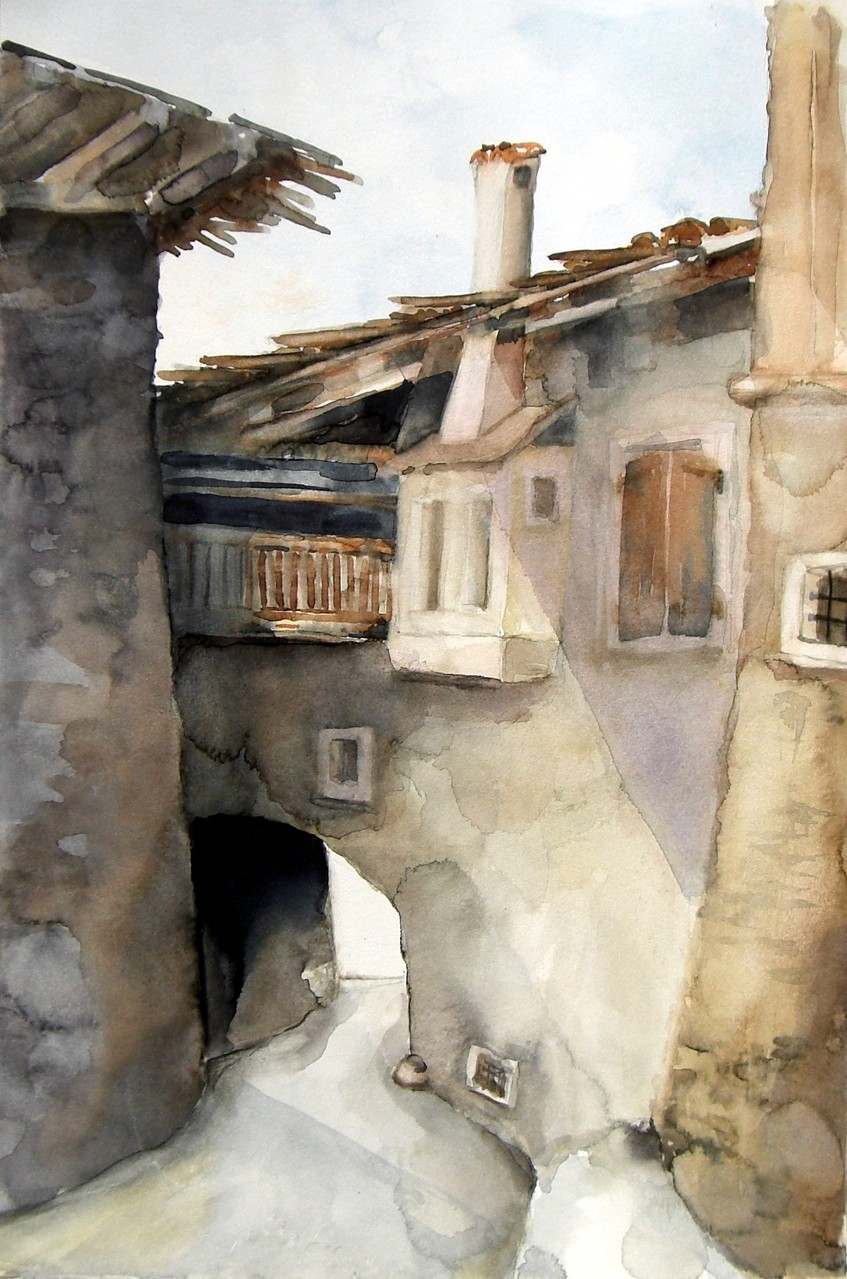 aquarell - gasse in tenno - trentino
