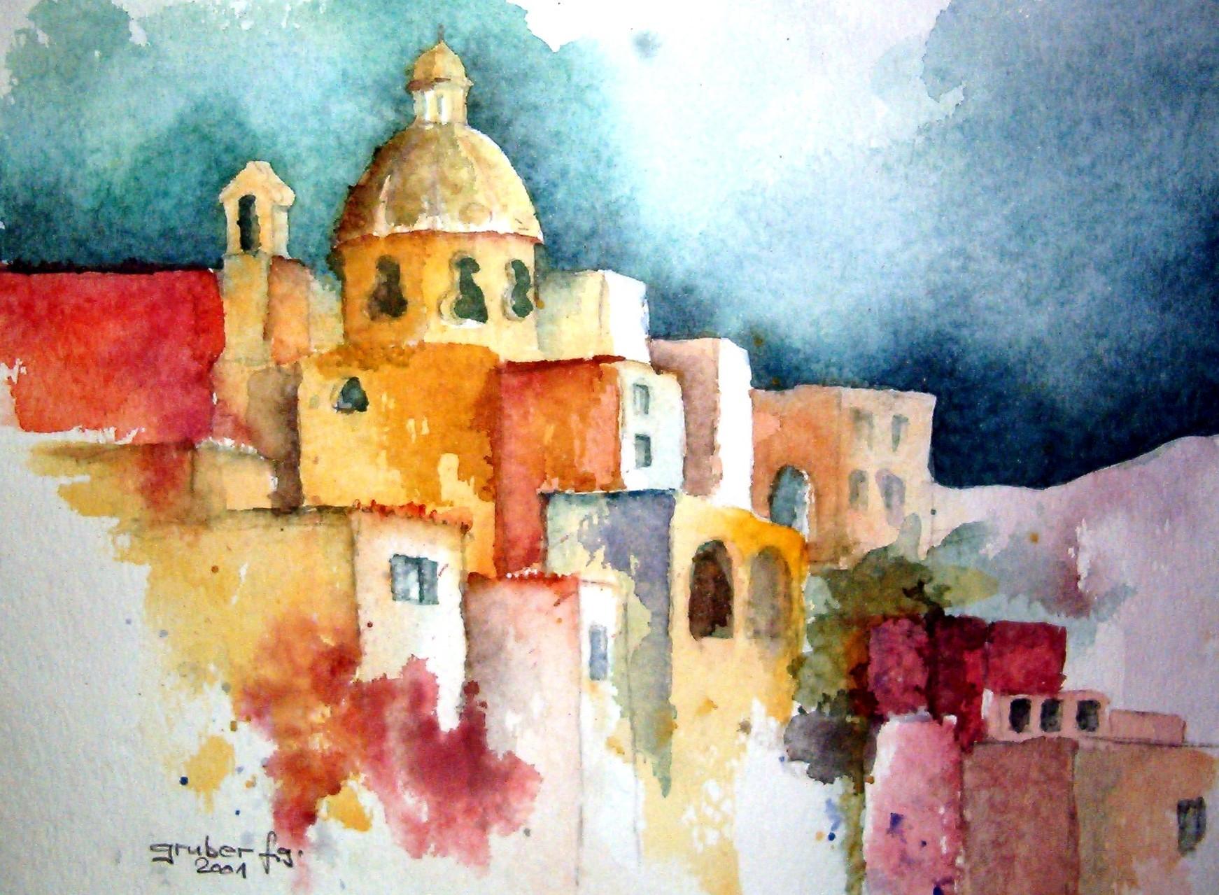 aquarell - impressionen auf der insel procida italien