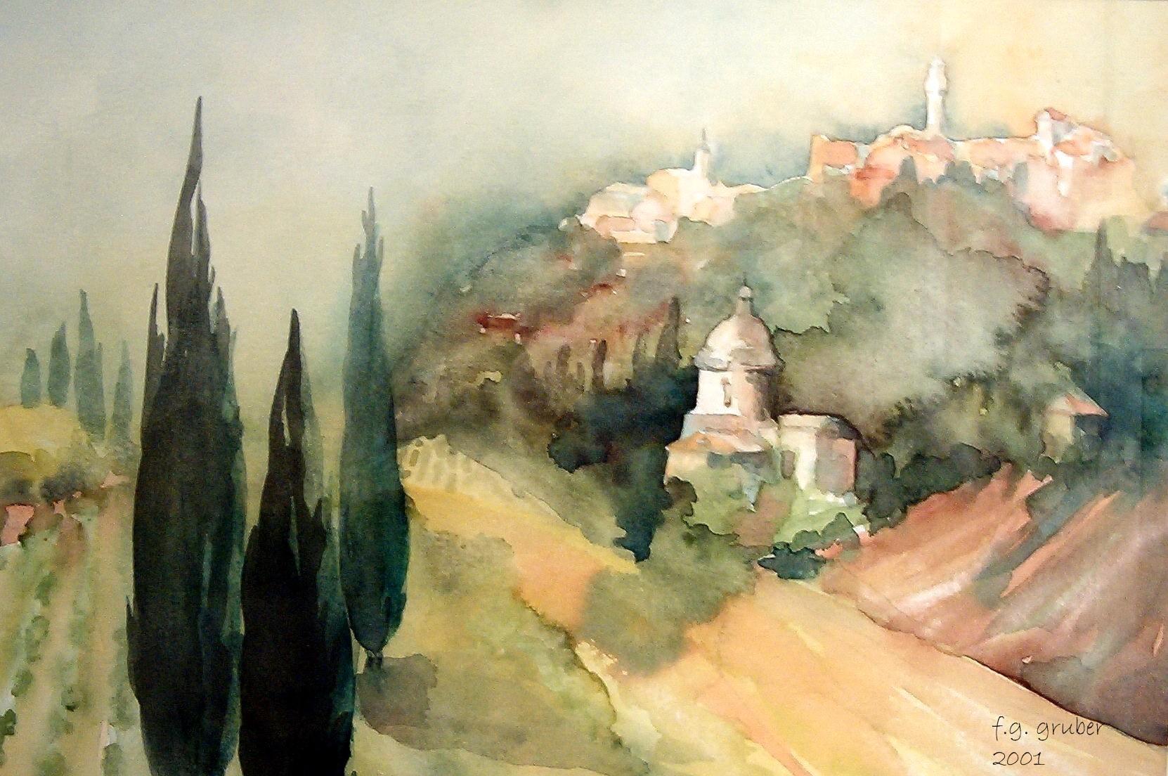 aquarell - blick auf montepulciano toskana - italien