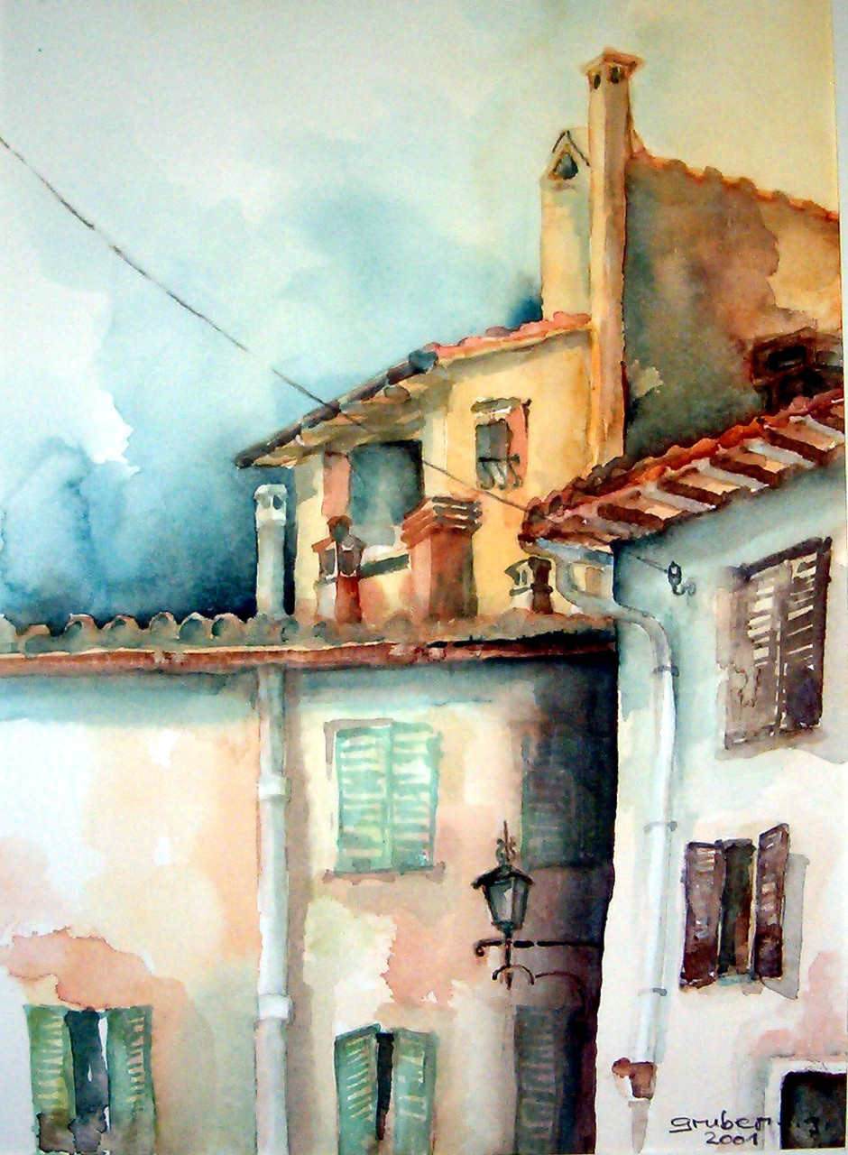 aquarell - montepulciano toskana - italien