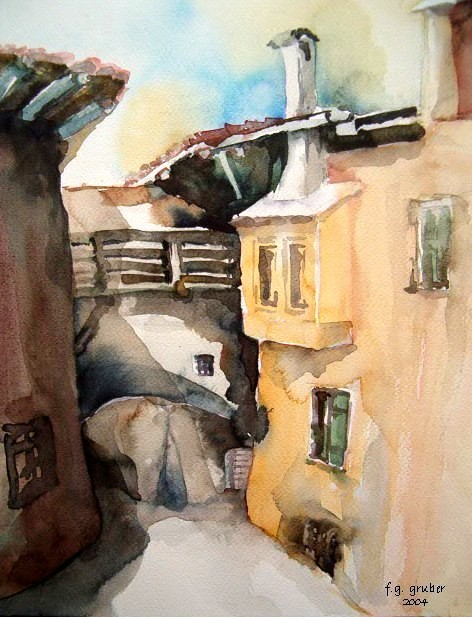 aquarell - gasse in tenno am gardasee