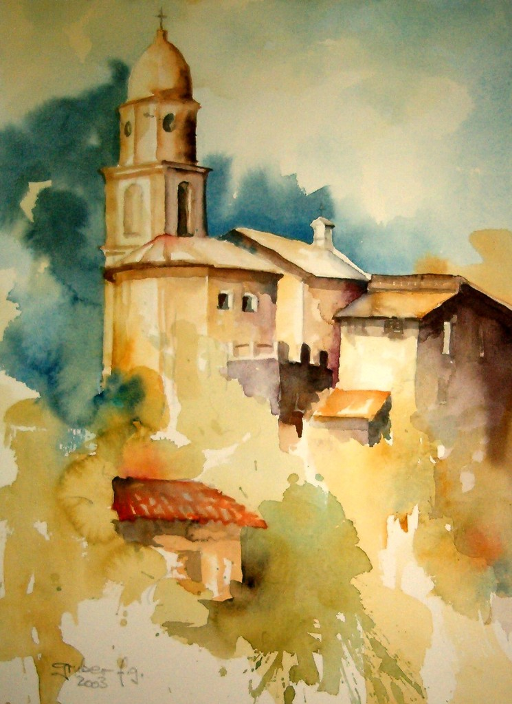 aquarell - qinque terre - italien