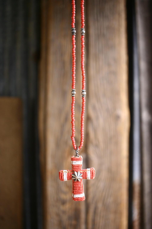 Beaded Cross Pendant Top ペンダントトップ ネックレス