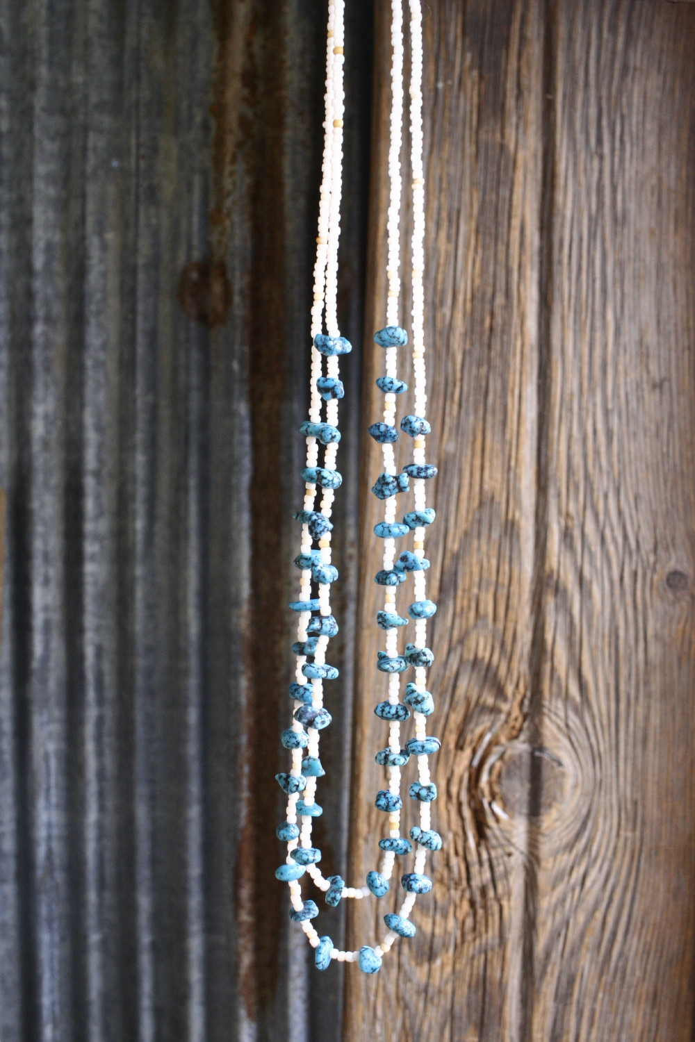 kingman turquoise vintage beads necklace