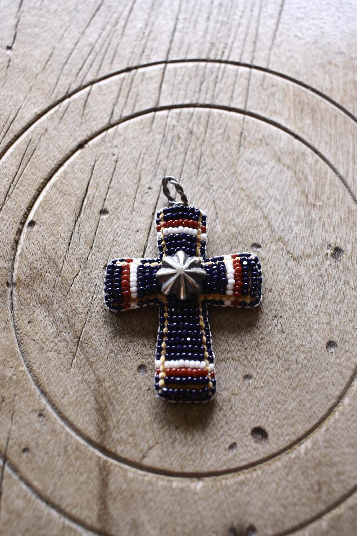 Beded Beads Cross Top ペンダントトップ