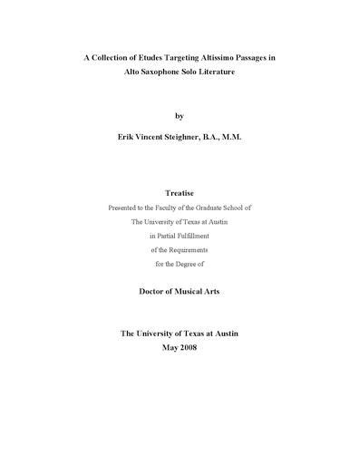 A Collection Of Etudes Targeting Altissimo Passages In Alto Saxophone Literature Erik Vincent Steighner Saxophon