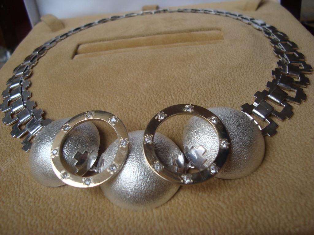 Collar de Plata 925, Oro Amarillo y Brillantes