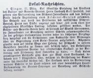Die Nachricht zur Gründung im Original (Siegener Zeitung vom 22.03.1888)