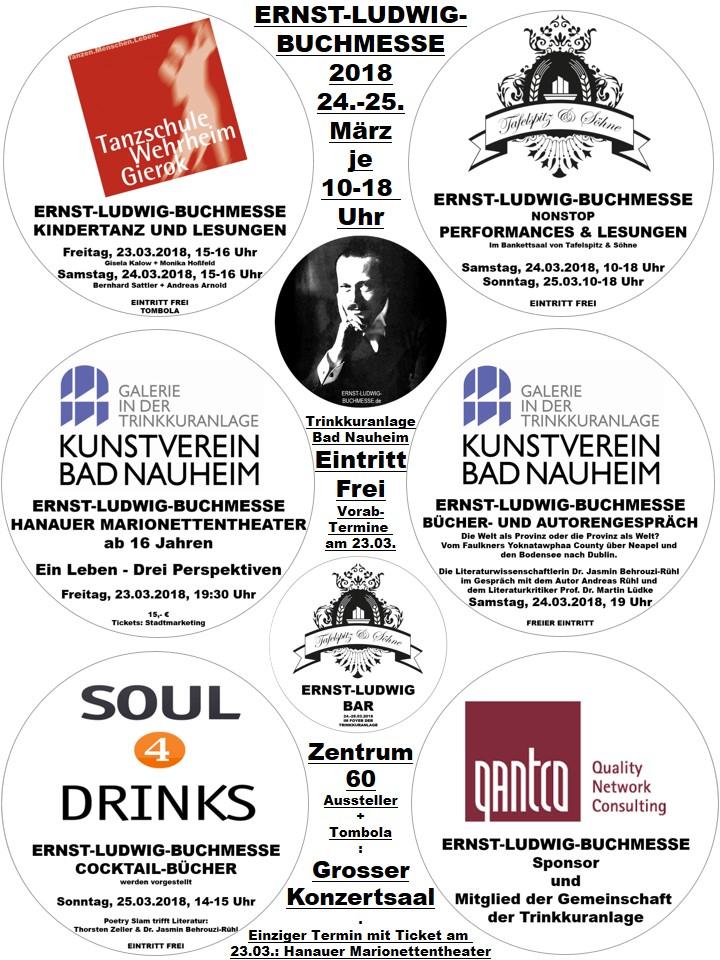 Gesamt-Zusammenschau aller Angebote der Gemeinschaft der Trinkkuranlage anlässlich der Ernst-Ludwig-Buchmesse 2018